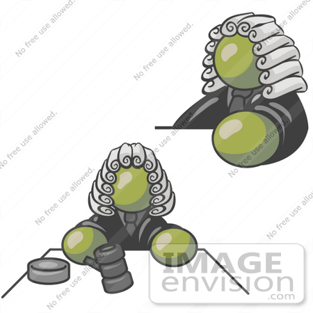 #37233 Clip Art Graphic of an Olive Green Guy Character Judge by Jester Arts