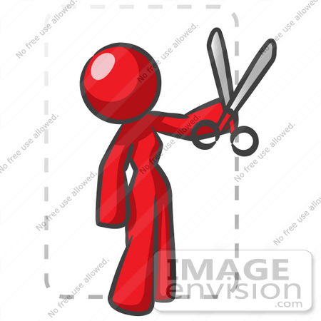 #37244 Clip Art Graphic of a Red Lady Character Cutting Coupons by Jester Arts