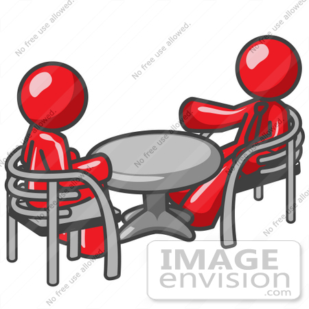 #37255 Clip Art Graphic of Red Guy Characters Sitting at a Table by Jester Arts