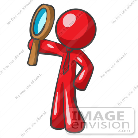 #37264 Clip Art Graphic of a Red Guy Character Holding up a Magnifying Glass by Jester Arts