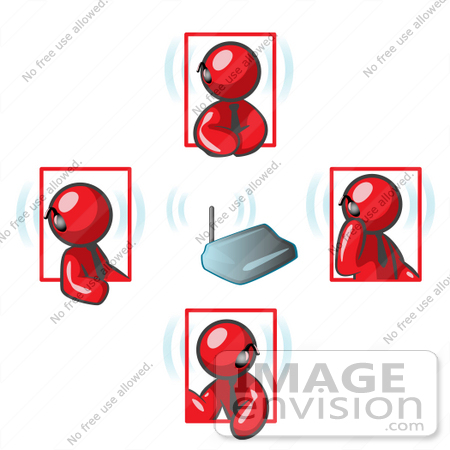 #37275 Clip Art Graphic of Red Guy Characters on Bluetooth Headsets by Jester Arts