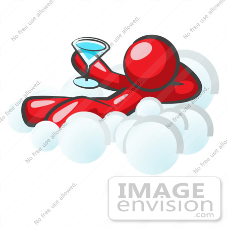 #37281 Clip Art Graphic of a Red Guy Character Drinking a Martini on a Cloud by Jester Arts