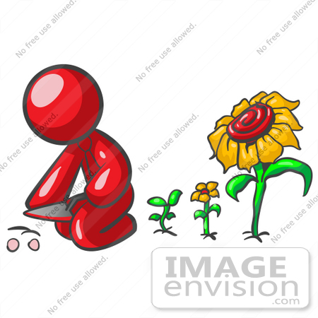 #37284 Clip Art Graphic of a Red Guy Character Planting Sunflowers by Jester Arts
