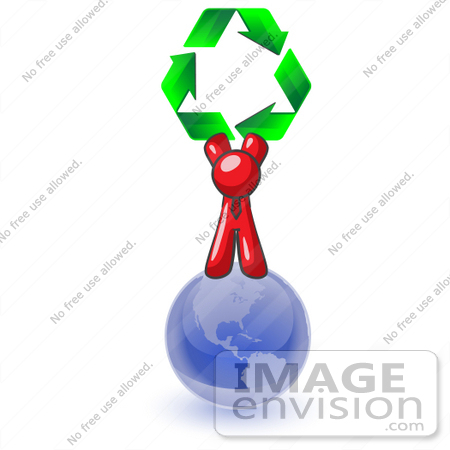 #37300 Clip Art Graphic of a Red Guy Character Holding Recycle Arrows on the Globe by Jester Arts