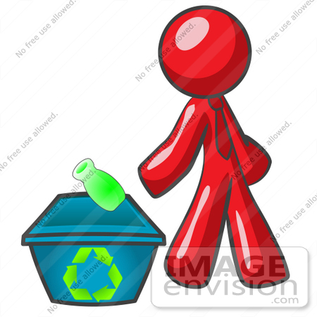 #37316 Clip Art Graphic of a Red Guy Character Recycling by Jester Arts