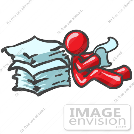 #37329 Clip Art Graphic of a Red Guy Character Reading Paperwork by Jester Arts
