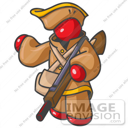 #37341 Clip Art Graphic of a Red Guy Character Hunting With a Rifle by Jester Arts