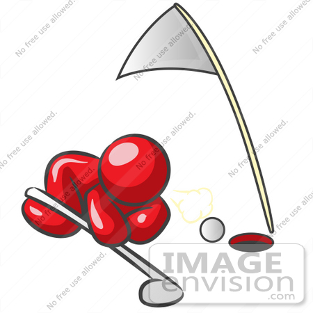 #37343 Clip Art Graphic of a Red Guy Character Trying to Blow a Golf Ball Into the Hole by Jester Arts