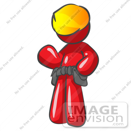#37347 Clip Art Graphic of a Red Guy Character Wearing a Tool Belt and Hard Hat by Jester Arts