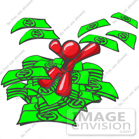 #37362 Clip Art Graphic of a Red Guy Character Jumping Into a Pile of Cash by Jester Arts