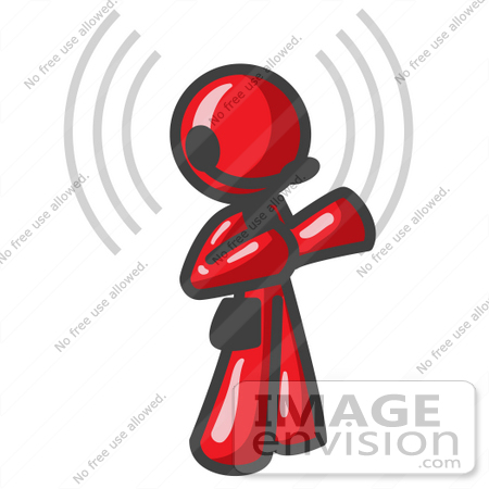 #37364 Clip Art Graphic of a Red Guy Character on a Headset, With Signals by Jester Arts