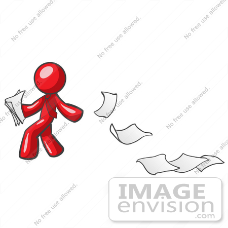 #37380 Clip Art Graphic of a Red Guy Character Dropping Papers by Jester Arts