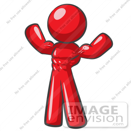 #37381 Clip Art Graphic of a Red Guy Character Flexing His Muscles by Jester Arts