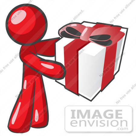#37382 Clip Art Graphic of a Red Guy Character Holding a Gift by Jester Arts