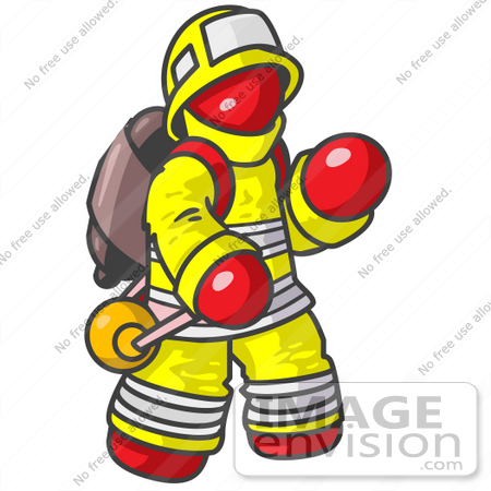 #37392 Clip Art Graphic of a Red Guy Character Fireman by Jester Arts