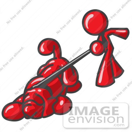 #37401 Clip Art Graphic of a Red Guy Character Walking a Dog by Jester Arts