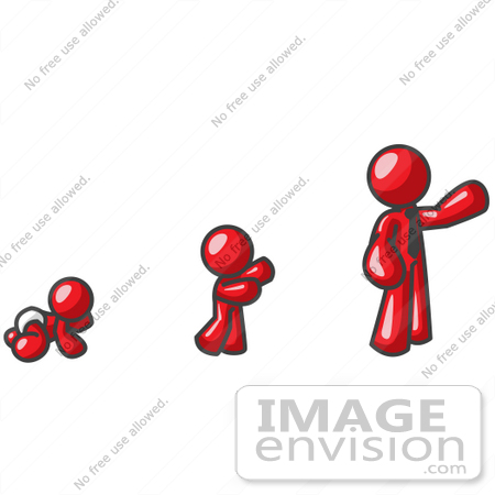 #37408 Clip Art Graphic of a Red Guy Character Growing From a Baby to an Adult by Jester Arts