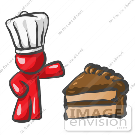 #37413 Clip Art Graphic of a Red Guy Character Chef With Chocolate Cake by Jester Arts