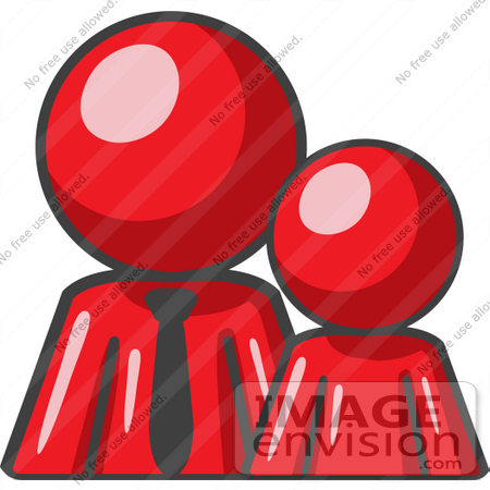 #37417 Clip Art Graphic of a Red Guy Character With a Child by Jester Arts
