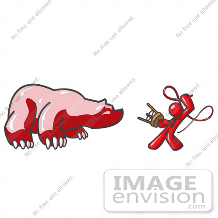 #37419 Clip Art Graphic of a Red Guy Character Taming a Bear by Jester Arts