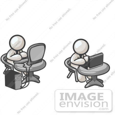 #37435 Clip Art Graphic of White Guy Characters Working on Laptops and Desktops by Jester Arts