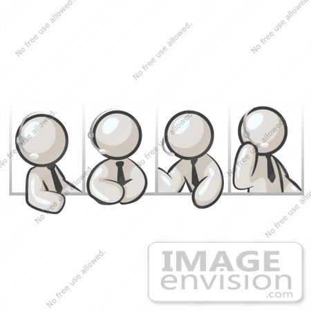 #37450 Clip Art Graphic of White Guy Characters Using Headsets by Jester Arts