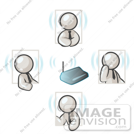#37452 Clip Art Graphic of White Guy Characters Holding a Phone Conference, Using Headsets by Jester Arts