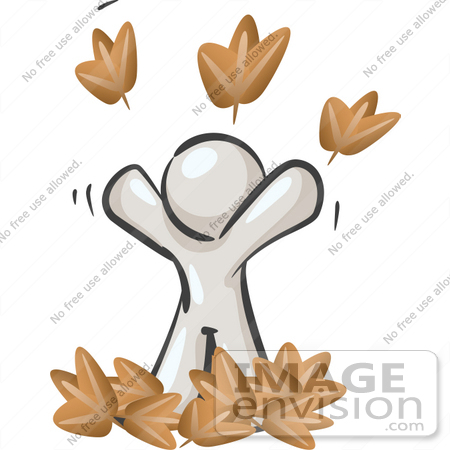 #37469 Clip Art Graphic of a White Guy Character Playing in Leaves by Jester Arts