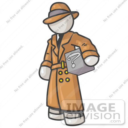 #37485 Clip Art Graphic of a White Guy Character Investigator Carrying a Box by Jester Arts