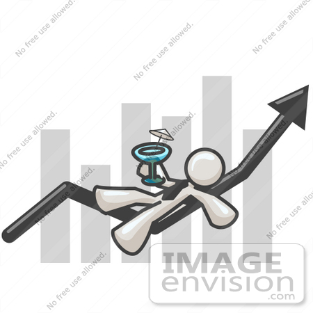 #37487 Clip Art Graphic of a White Guy Character Drinking a Cocktail on a Bar Graph by Jester Arts