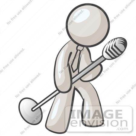 #37494 Clip Art Graphic of a White Guy Character Singing Into a Microphone by Jester Arts