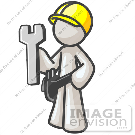 #37512 Clip Art Graphic of a White Guy Character Holding a Spanner Tool by Jester Arts