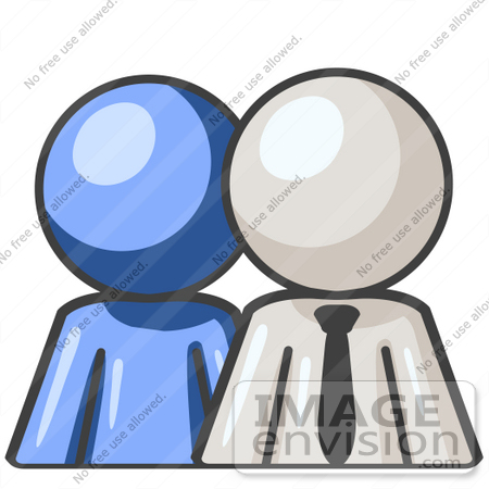 #37513 Clip Art Graphic of a White Guy Character With a Blue Employee by Jester Arts