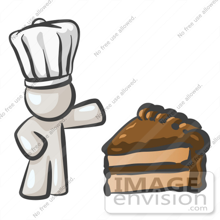 #37515 Clip Art Graphic of a White Guy Character Chef With Chocolate Cake by Jester Arts