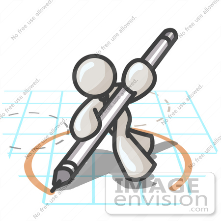 #37524 Clip Art Graphic of a White Guy Character Drawing a Circle on Graph Paper by Jester Arts