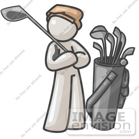 #37530 Clip Art Graphic of a White Guy Character Golfing by Jester Arts