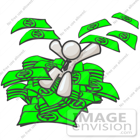 #37545 Clip Art Graphic of a White Guy Character Jumping in a Pile of Cash by Jester Arts