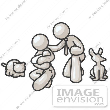 #37547 Clip Art Graphic of a White Guy Character Family With Pets by Jester Arts