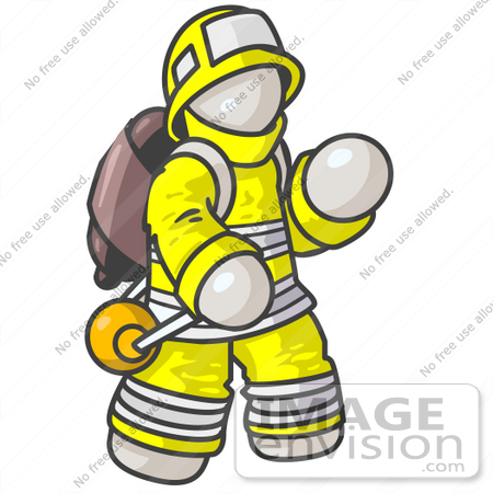 #37553 Clip Art Graphic of a White Guy Character Fireman by Jester Arts