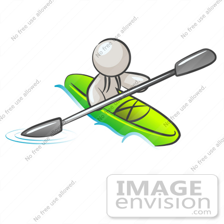 #37561 Clip Art Graphic of a White Guy Character Kayaking by Jester Arts