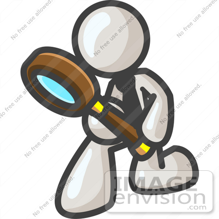 #37576 Clip Art Graphic of a White Guy Character Kneeling and Using a Magnifying Glass by Jester Arts
