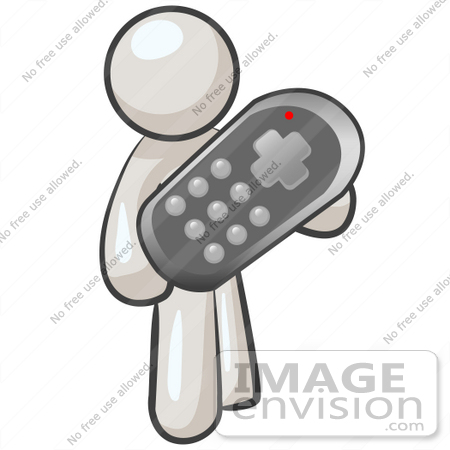 #37578 Clip Art Graphic of a White Guy Character Holding a Remote Control by