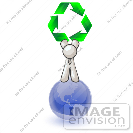 #37584 Clip Art Graphic of a White Guy Character on a Globe, Holding Recycle Arrows by Jester Arts