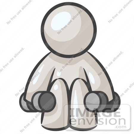 #37591 Clip Art Graphic of a White Guy Character Exercising With Dumbbells in a Gym by Jester Arts