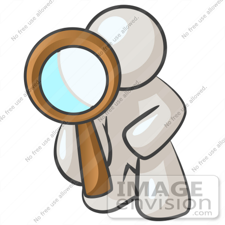 #37594 Clip Art Graphic of a White Guy Character Kneeling and Looking Through a Magnifying Glass by Jester Arts