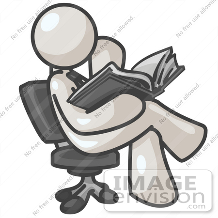 #37595 Clip Art Graphic of a White Guy Character Sitting and Reading by Jester Arts