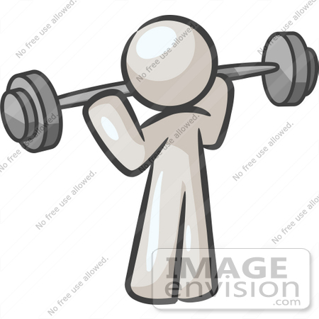 #37601 Clip Art Graphic of a White Guy Character Exercising With a Barbell by Jester Arts