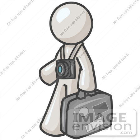 #37602 Clip Art Graphic of a White Guy Character Tourist With a Camera and Luggage by Jester Arts
