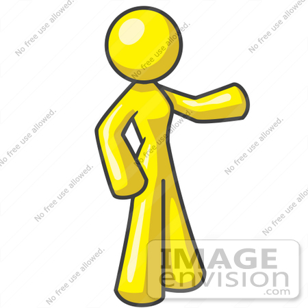 #37685 Clip Art Graphic of a Yellow Lady Character Pointing by Jester Arts