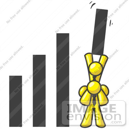 #37693 Clip Art Graphic of Yellow Guy Characters Holding up Part of a Bar Graph by Jester Arts